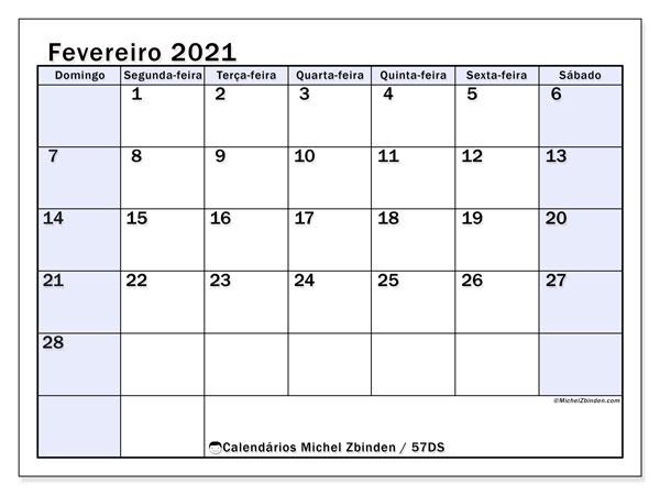 Calendário fevereiro 2021, 57DS. Calendário para imprimir livre.