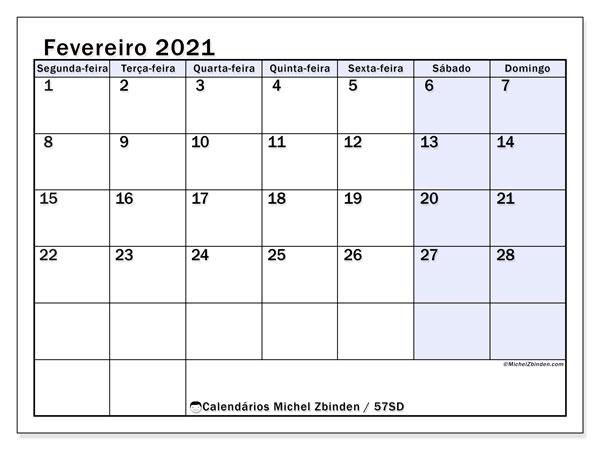 Calendário fevereiro 2021, 57SD. Calendário para imprimir livre.