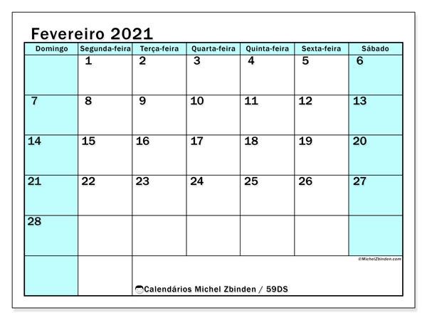 Calendário fevereiro 2021, 59DS. Calendário para imprimir livre.