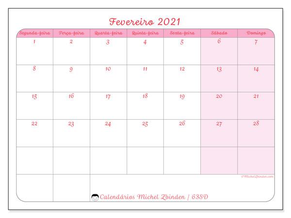 Calendário fevereiro 2021, 63SD. Agenda para imprimir livre.