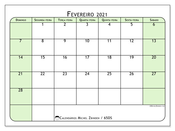 Calendário fevereiro 2021, 65DS. Calendário para imprimir livre.