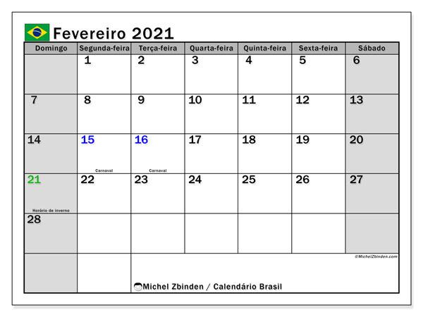 Calendário fevereiro 2021, com as festas do Brasil. Calendário para impressão gratuita com feriados.