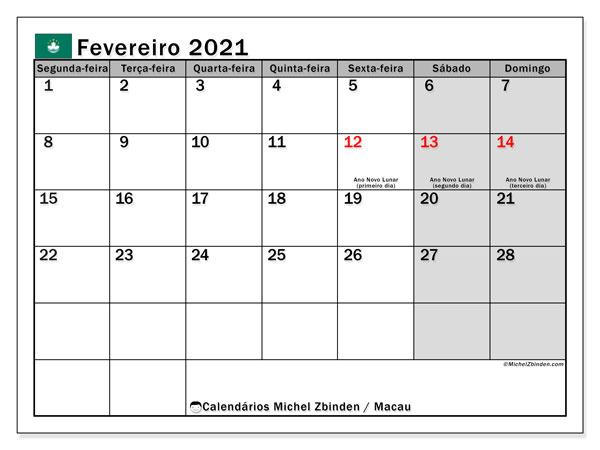Calendário fevereiro 2021, com as festas do Macau. Calendário para impressão gratuita com feriados.