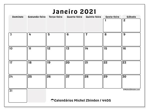 Calendário janeiro 2021, 44DS. Horário para imprimir livre.