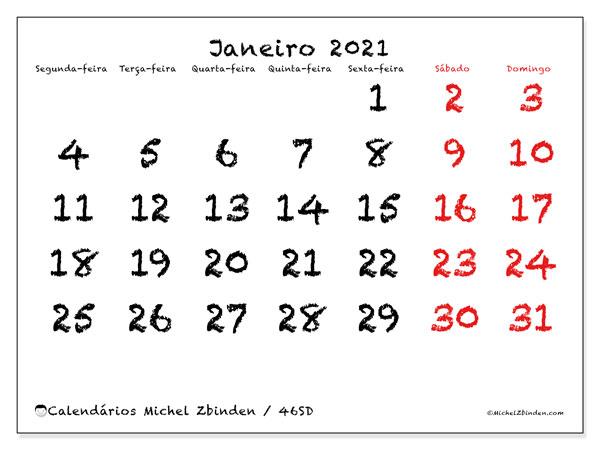 Calendário janeiro 2021, 46SD. Calendário para imprimir gratuitamente.