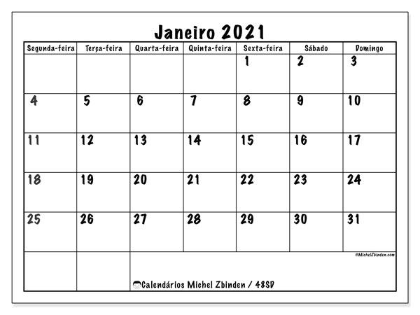 Calendário janeiro 2021, 48SD. Horário para imprimir livre.