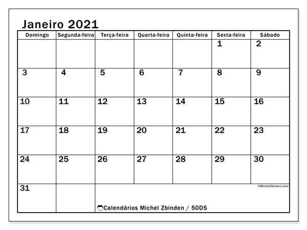 Calendário janeiro 2021, 50DS. Horário para imprimir livre.