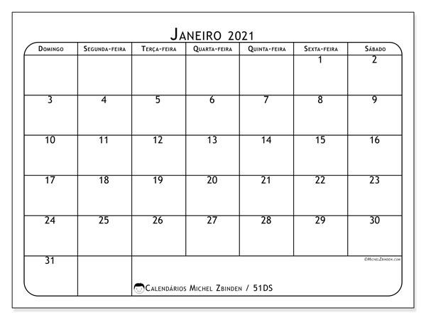 Calendário janeiro 2021, 51DS. Calendário para imprimir gratuitamente.
