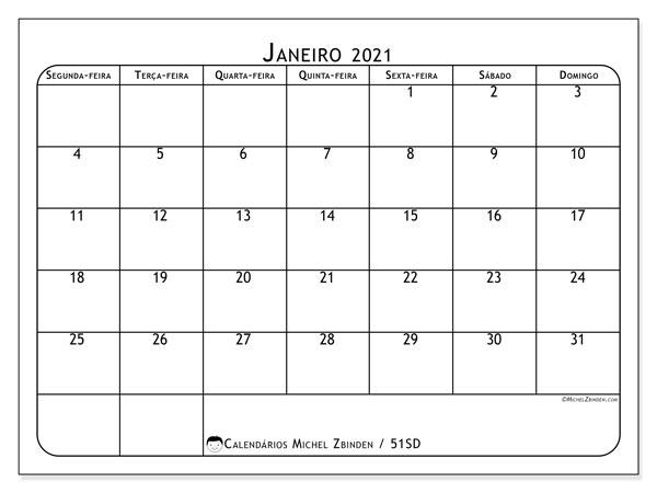 Calendário janeiro 2021, 51SD. Horário para imprimir livre.