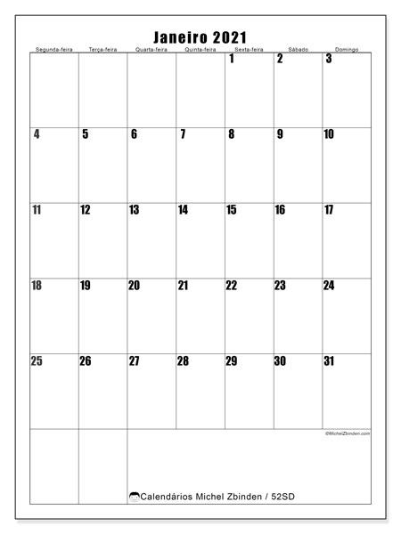 Calendário janeiro 2021, 52SD. Calendário para imprimir livre.