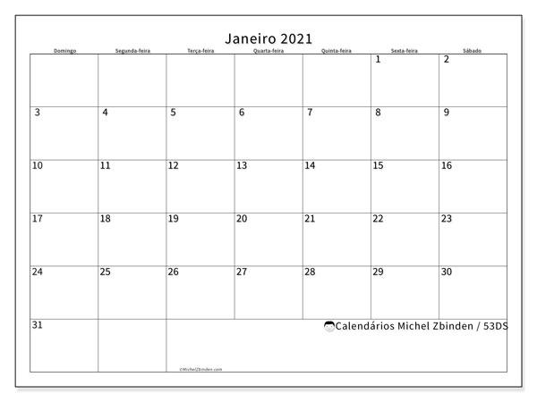 Calendário janeiro 2021, 53DS. Calendário mensal para imprimir gratuitamente.
