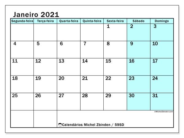 Calendário janeiro 2021, 59SD. Calendário para imprimir livre.