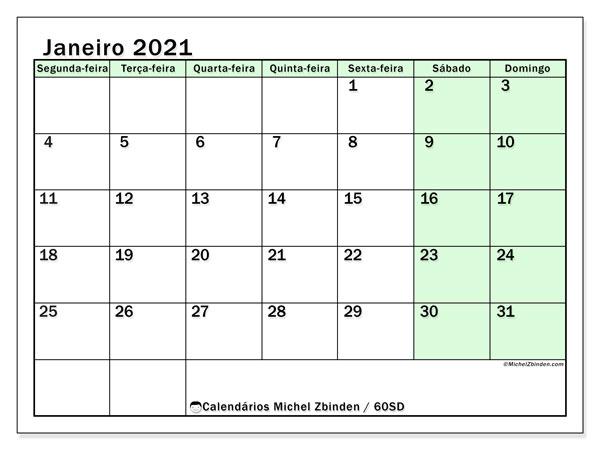 Calendário janeiro 2021, 60SD. Horário para imprimir livre.