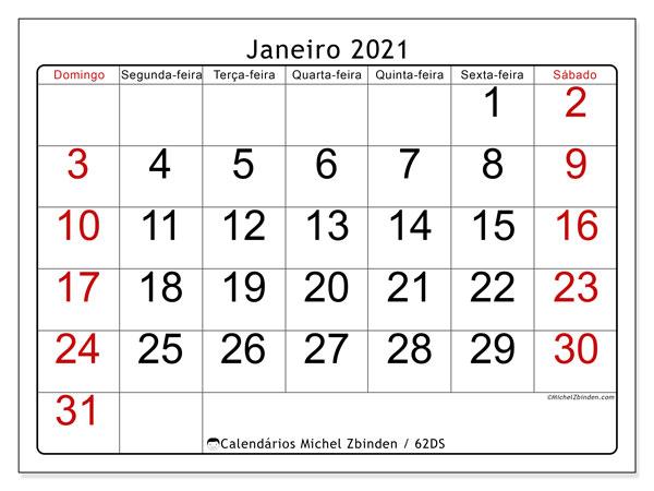 Calendário janeiro 2021, 62DS. Agenda para imprimir livre.