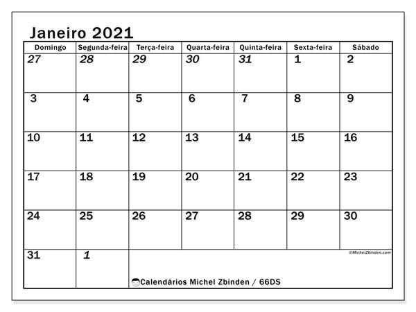 Calendário janeiro 2021, 66DS. Calendário para imprimir gratuitamente.