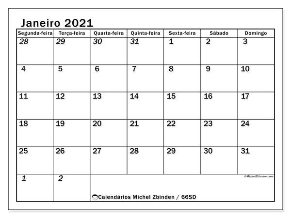 Calendário janeiro 2021, 66SD. Horário para imprimir livre.