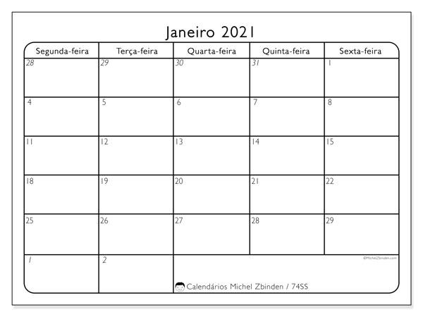 Calendário janeiro 2021, 74DS. Horário para imprimir livre.