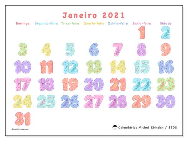 Calendário janeiro 2021, 83DS. Horário para imprimir livre.