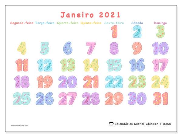 Calendário janeiro 2021, 83SD. Calendário gratuito para imprimir.