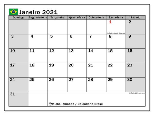 Calendário janeiro 2021, com as festas do Brasil. Calendário feriados para imprimir gratuitamente.