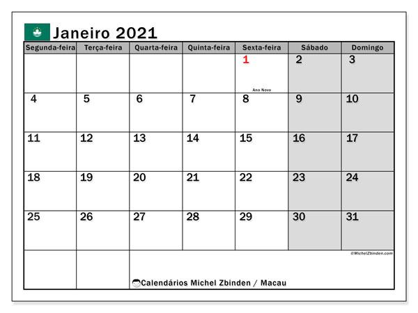 Calendário janeiro 2021, com as festas do Macau. Calendário para impressão gratuita com feriados.