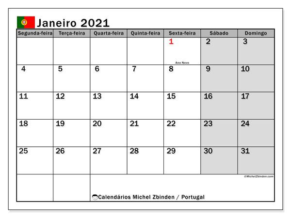 Calendário janeiro 2021, com com feriados em Portugal. Calendário feriados para imprimir gratuitamente.