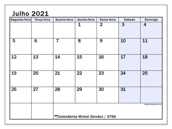 Calendário julho 2021, 57SD. Calendário para imprimir livre.