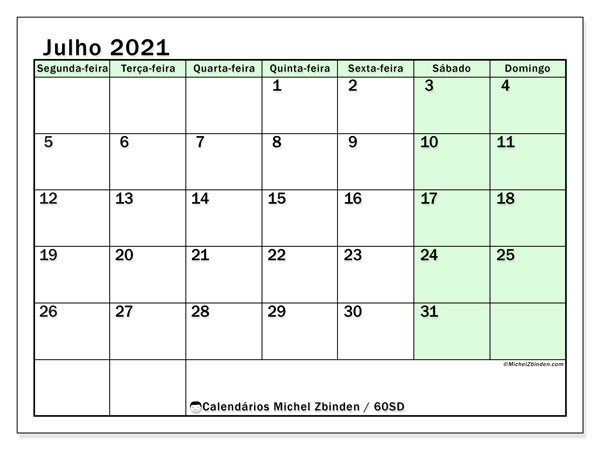 Calendário julho 2021, 60SD. Calendário gratuito para imprimir.