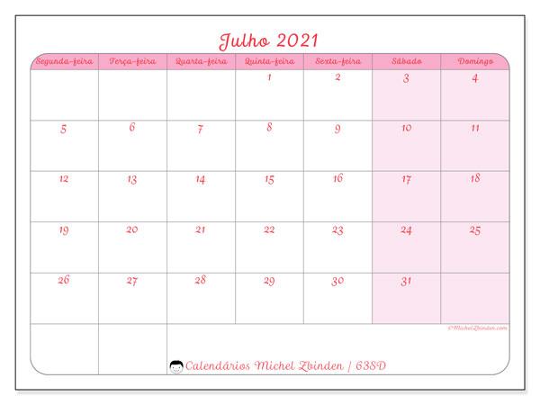 Calendário julho 2021, 63SD. Calendário para o mês para imprimir livre.