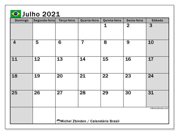 Calendário julho 2021, com as festas do Brasil. Calendário para impressão gratuita com feriados.