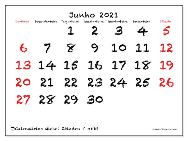 Calendário junho 2021, 46DS. Calendário para imprimir gratuitamente.