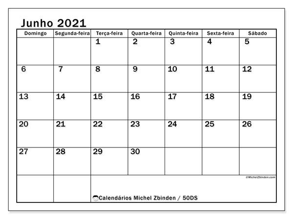 Calendário junho 2021, 50DS. Calendário para o mês para imprimir livre.