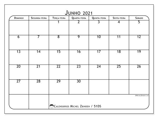 Calendário junho 2021, 51DS. Calendário para imprimir gratuitamente.