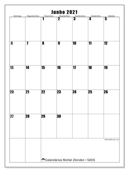 Calendário junho 2021, 52DS. Calendário para imprimir livre.