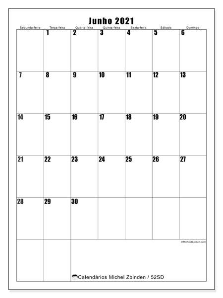 Calendário junho 2021, 52SD. Horário para imprimir livre.