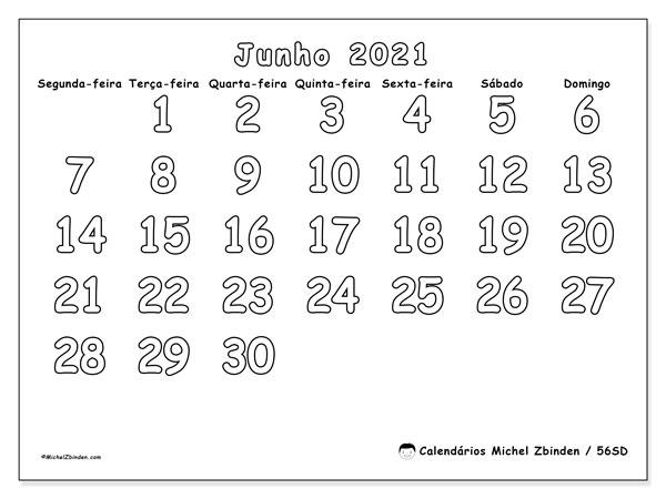 Calendário junho 2021, 56SD. Calendário mensal para imprimir gratuitamente.