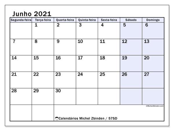 Calendário junho 2021, 57SD. Agenda para imprimir livre.