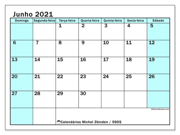Calendário junho 2021, 59DS. Calendário para o mês para imprimir livre.