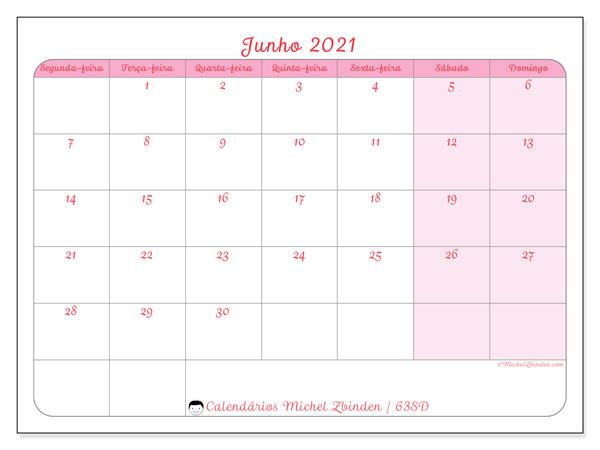 Calendário junho 2021, 63SD. Calendário para imprimir gratuitamente.