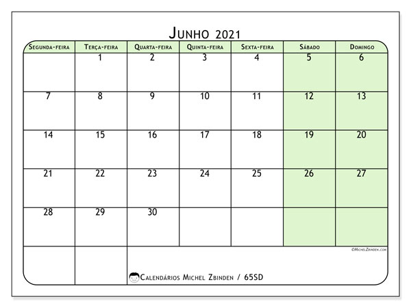 Calendário junho 2021, 65SD. Calendário para imprimir livre.