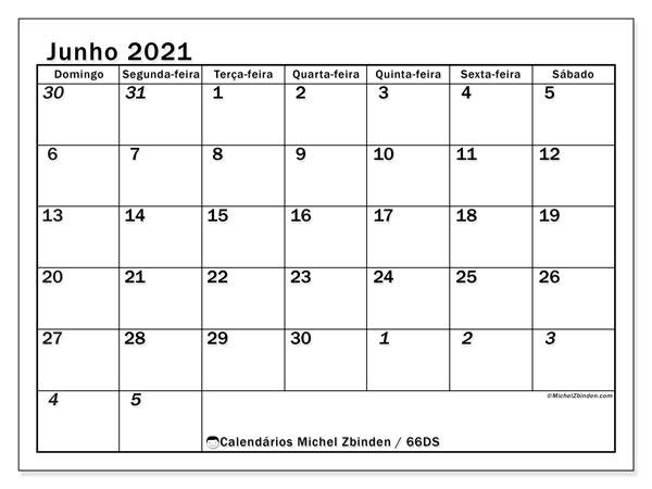 Calendário junho 2021, 66DS. Calendário mensal para imprimir gratuitamente.
