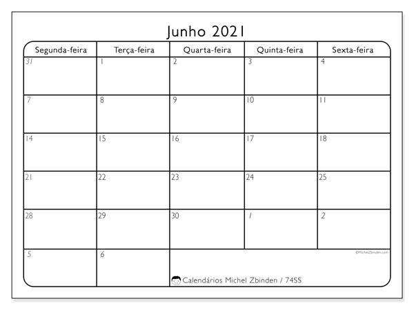 Calendário junho 2021, 74DS. Calendário gratuito para imprimir.