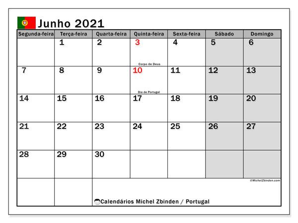 Calendário junho 2021, com com feriados em Portugal. Calendário feriados para imprimir gratuitamente.