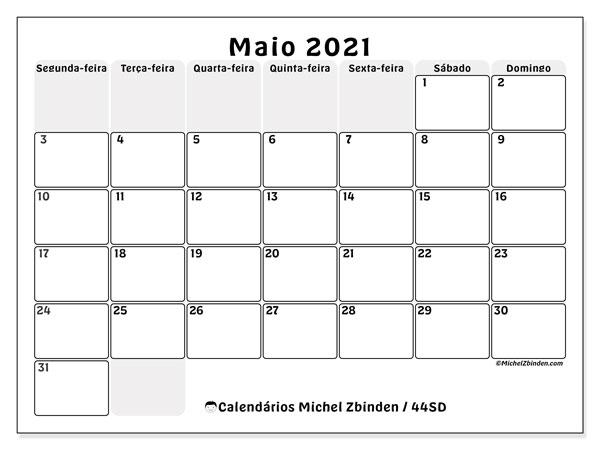 Calendário maio 2021, 44SD. Agenda para imprimir livre.