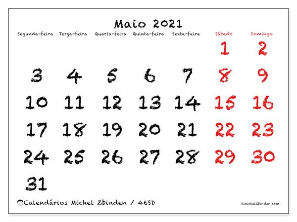 Calendário maio 2021, 46SD. Calendário para imprimir livre.