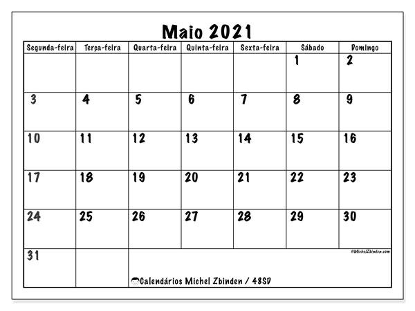 Calendário maio 2021, 48SD. Calendário para o mês para imprimir livre.
