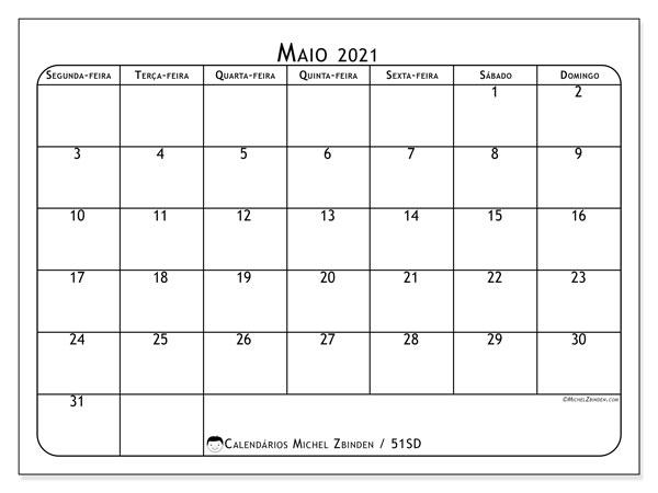 Calendário maio 2021, 51SD. Agenda para imprimir livre.