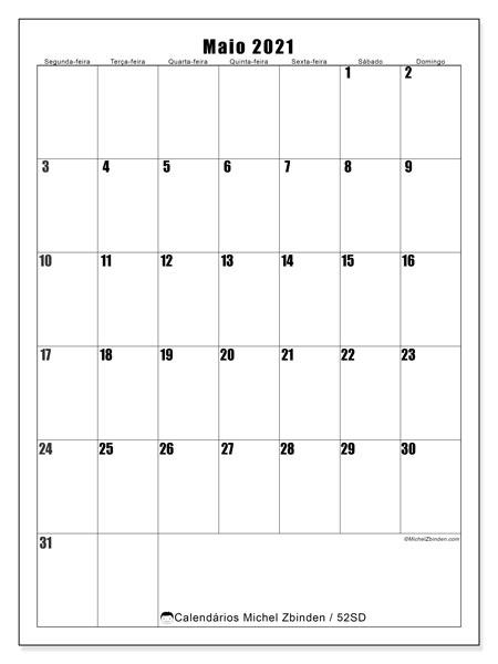 Calendário maio 2021, 52SD. Horário para imprimir livre.