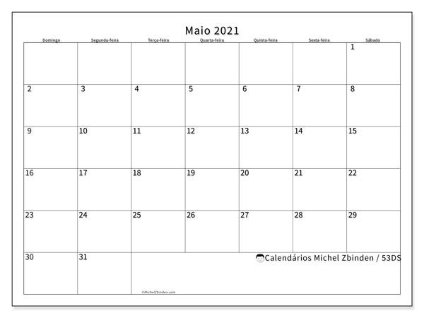 Calendário maio 2021, 53DS. Calendário para o mês para imprimir livre.