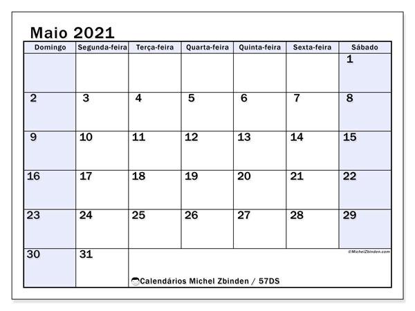 Calendário maio 2021, 57DS. Agenda para imprimir livre.